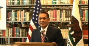 Assemblyman Gil Cedillo at signing of his bill AB 130, part of the California Dream Act (photo from Assembly Access video)