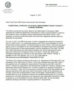 Page one of the California Dept. of Education's letter to SIG Schools. (click to enlarge)