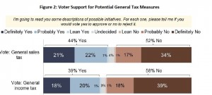 Neither a sales nor income tax increase drew a majority support when suggested as a new general state tax.