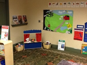 Puppet Theater in TK model classroom (photo, Jeannine Campbell). Click to enlarge.