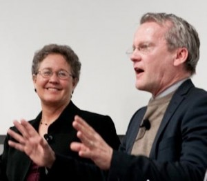 Linda Darling-Hammond and Pasi Sahlberg at Finland-U.S. education conference at Stanford. (photo courtesy of Barbara McKenna).  Click to enlarge.
