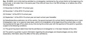Gov. Brown's 2012-13 Education Trailer Bill regarding kindergarten admission (click to enlarge)