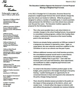 The Education Coalition opposes Gov. Brown's weighted student formula for finanace reform. Click to enlarge.