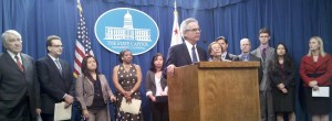 Sen. Lowenthal, with community college leaders and students, announcing passage of SB 1456. (Click to enlarge)