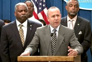 Senate President pro Tem Darrell Steinberg discussing his bill to reduce suspensions. (Source:  Senate website) Click to enlarge.