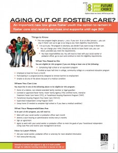 After 18 FAQs for foster youth. (Source:  Calif. Dept. of Social Services). Click to enlarge.