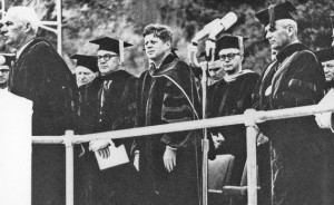 President Kennedy stands next to Governor Pat Brown as San Diego State President Malcolm Love speaks. (Click to enlarge)