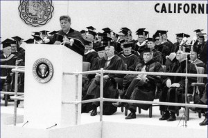 President Kennedy delivering the commencement address at San Diego State, June 6, 1963. (Click to enlarge)