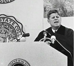 President Kennedy delivering the commencement address at San Diego State College on June 6, 1963.