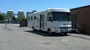 The mobile classroom parked at West Oakland Middle School. (click to enlarge)